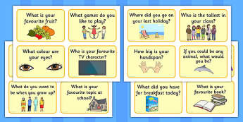 Listening and Speaking Question Prompt Cards - prompt, cards, flashcards, questions, how to ask a question, prompts