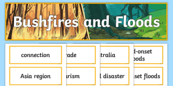 Bushfires and Floods Display Pack - ACHASSK114, geography, year 5, header, title, topic, wall,