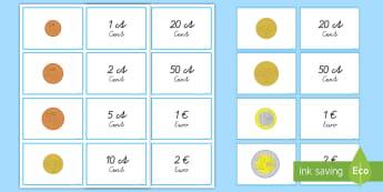 Euromünzen und -werte Memorykarten - Euro, Cent, Geld, Rechnen, Wert, Geldwert, Mathe,German