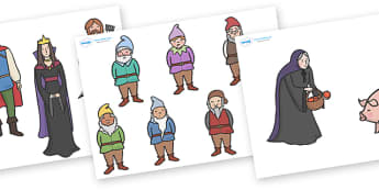Snow White and the Seven Dwarfs Story Cut Outs - Snow White and the Seven Dwarfs, Snow White, Dwarfs, Seven Dwarfs, traditional tale, cut outs, cutting, cut, tale, magic mirror, the queen, prince, forest, old hag, poisoned apple, kiss, asleep