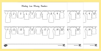 Washing Line Missing Number To 20 Activity Sheet - New Zealand, maths, numbers to 20, age 5, age 6, age 7, Years 1-2, number line, worksheets, number o