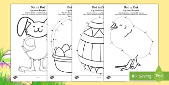 Easter Dot to Dot Activity Sheets English/Polish - EYFS, Early Years, KS1, Easter, Easter Bunny, chicks, Easter eggs, number recognition, numbers to 10