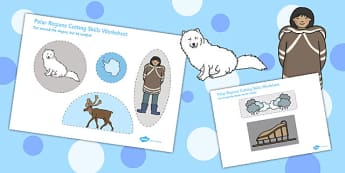 Polar Regions Cutting Skills Worksheet - Worksheets, Motor, Skill