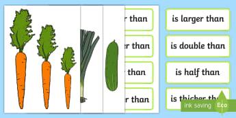 Vegetable Size Comparison Measuring Activity - vegetable, size comparison, measuring, activity