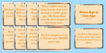 Amazing Stone Age to the Iron Age Display Fact Cards - facts