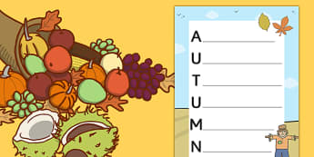 Autumn Acrostic Poem Template - autumn, autumn acrostic poem, autumn acrostic poem writing frame, weather and the seasons, seasons acrostic poem