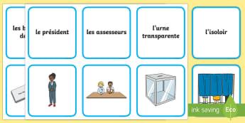 Cartes pour jeu de paires : Le bureau de vote - Les élections présidentielles, cycle 2, cycle 3, presidential elections, France, bureau de vote, p