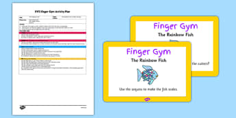 EYFS Sequins in Playdough Finger Gym Plan and Prompt Card Pack to Support Teaching on The Rainbow Fish - eyfs, rainbow fish, finger gym, plan, prompt, card, pack