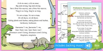 Prehistoric Dinosaurs Song - EYFS, Early Years, KS1, dinosaurs, prehistoric, Jurassic, pterodactyl, T.rex, tyrannosaurus rex, ple