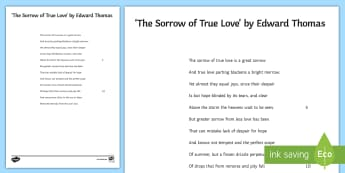 'The Sorrow of True Love' by Edward Thomas  Literary Text - Poetry, GCSE poetry, First World War Poetry, First World War Poets, OCR Anthology, Towards A World U