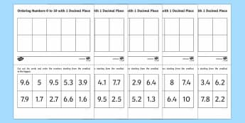 Ordering Decimals Numbers 0 to 10 with 1 Decimal Place Activity