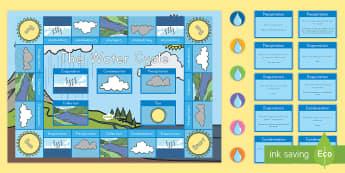Water Cycle Board Game - Evaporation, Condensation, precipitation, Run-Off, water vapor, gas,liquid