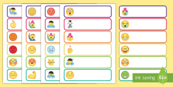 Emoji Themed Tray Labels - EYFS, KS1, Early Years, Key Stage 1, Start Of Term, Classroom Set Up, Toy Labels, Resource Labels, C