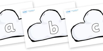 Phase 2 Phonemes on Weather Symbols (Cloud) - Phonemes, phoneme, Phase 2, Phase two, Foundation, Literacy, Letters and Sounds, DfES, display