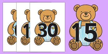 Numbers 0-30 on Teddy Bears - Teddy Bear, Foundation Numeracy, Number recognition, Number flashcards, counting, Teddy Bears, display, posters
