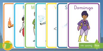 Pósters: Los días de la semana - Superhéroes - vocabulario, lunes, martes, miércoles, jueves, viernes, sábado, domingo,Spanish