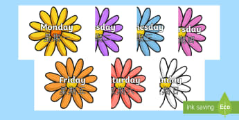 Days of the Week on Flowers English/Mandarin Chinese - Days of the Week on Flowers - days, week, display, visual aid, flashcards, days of the wek, days pf