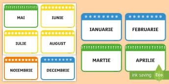 Lunile anului Flashcards - comunicare, scriere, decorul clasei, română, anotimpuri,Romanian
