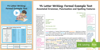 Y4 Letter Writing: Formal Model/Example Text - ARE, age-related example, model, model text, age-related model