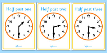 Analogue Clocks - Half Past - Time resource, Time vocabulary, clock face, O'clock, half past, quarter past, quarter to, shapes spaces measures, numeracy, measurement, time, clocks, analogue