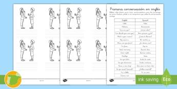 Ficha de actividad: Primera conversación - Inglés - questions, comic, lengua extranjera, inglés, english,