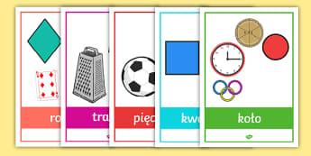 Plakaty Figury geometryczne Przedmioty codziennego użytku - geometria, figury, geomatryczne, kształty, kształt, płaskie, matematyka, koło, okrąg, trójkąt