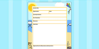Summer Themed Adult Led Carpet Based Activity Planning Template