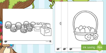 Easter Basket Eggs Colouring Pages - saving easter, easter bunny, easter eggs, colouring, pictures