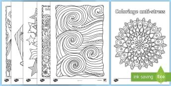 Feuilles de coloriage anti-stress - détente, relaxation, pause, dessin,  motricité,French