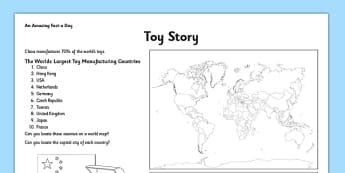 Toy Story Activity Sheet - where, toys, manufactured, fact of the day, activity, worksheet
