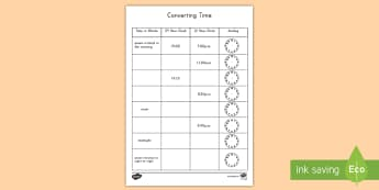 Converting Time Activity Sheet  - converting time, activity, 12 hour clock, 24 hour clock, analog clock