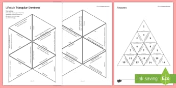 Lifestyle and Disease Triangular Dominoes - Tarsia, Dominoes, Lifestyle, Factors, Disease, Environment, Smoking, Alcohol, Health, plenary activity