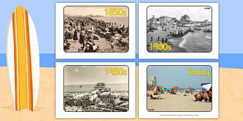 Seaside Through the Ages Display Photos - Seaside through the ages, past, old, display photos, seaside, A4, display, water, tide, waves, sand, beach, sea, sun, holiday, coast
