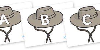 A-Z Alphabet on Cowboy Hats - A-Z, A4, display, Alphabet frieze, Display letters, Letter posters, A-Z letters, Alphabet flashcards