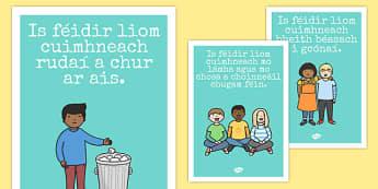 Good Manners Posters Gaeilge - gaeilge, Good manners, good behaviour, class management, behaviour management, SEN, put away, tidy up, share, hands up, polite, indoor voice