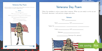 Veterans Day Poem Writing Activity Sheet - Service Member, Poetry, Army, Navy, Coast Guard, Air Force, Marine Corps