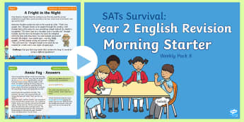 SATs Survival: Year 2 English Revision Morning Starter Weekly PowerPoint Pack 8 - SATs Survival Materials Year 2, SATs, assessment, 2017, English, SPaG, GPS, grammar, punctuation, sp