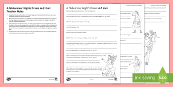 A Midsummer Night's Dream A-Z Quiz Activity Sheet - A Midsummer Night's Dream, quiz, shakespeare