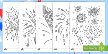 Fireworks Themed Mindfulness Coloring Activity Sheets - fireworks, color, coloring, Independence Day, 4th of July, art, worksheets