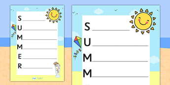 Summer Acrostic Poem Template - summer, summer acrostic poem, summer acrostic template, weather and seasons, seasons acrostic poem, seasons poem template