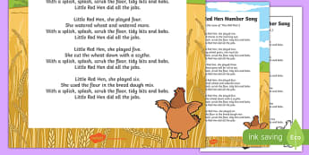 The Little Red Hen Number Song