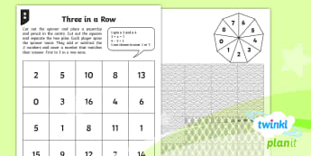 PlanIt Y1 Addition and Subtraction Three in a Row  Home Learning Tasks  - Addition and Subtraction, difference, game, strategy, plus, minus, how many more, how many less, y1,
