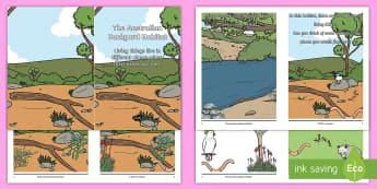 The Australian Backyard Habitat Booklet - science story, ACSSU211, Year 1 science, animal needs, plant needs,Australia