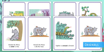 Ronald the Rhino Positional Language Display Posters - EYFS, Early Years, KS1, Key Stage 1, Twinkl Fiction, Twinkl Originals, Jungle, Forest, Rhinoceros, L