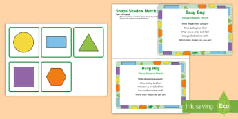 Shape Shadow Match Busy Bag Prompt Card and Resource Pack - match, pairs, toddler activity, observation, discovery sack, maths sack