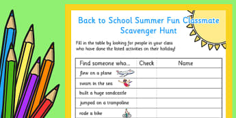 Back to School Summer Fun Classmate Scavenger Hunt - scavenger
