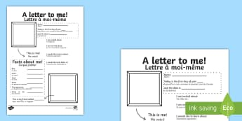 A letter to myself Activity Sheet - English/French - A Letter To Myself Writing Activity - letters, ourselves, write, letters, writing, EAL French, Frenc
