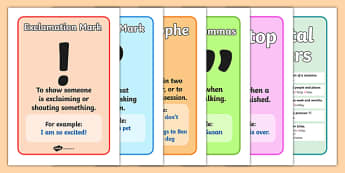 Punctuation Marks And When To Use Them - Punctuation, VCOP, display, poster, banner, sign, writing aid, writing aids, ellipsis, comma, brackets, semicolon, colon,  full stop, capital letter, foundation stage literacy, letters and sounds, DfES, KS1