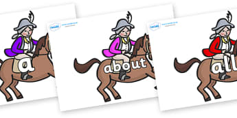 100 High Frequency Words on King's Horses - High frequency words, hfw, DfES Letters and Sounds, Letters and Sounds, display words