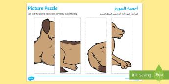 Visual Processing Puzzle Arabic/English - puzzle, color, lines, straight, edge  EAL Arabic,Arabic-translation